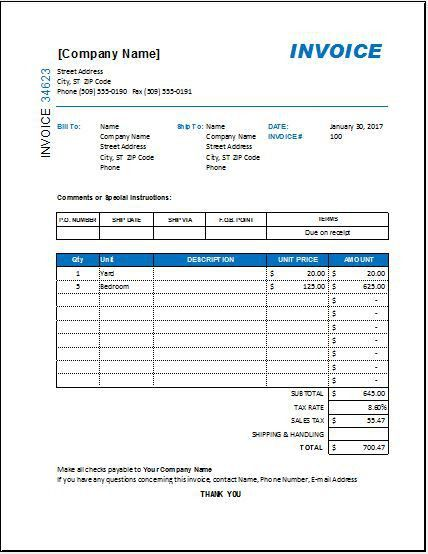 Interior Design Invoice TEMPLATE for EXCEL | EXCEL INVOICE TEMPLATES