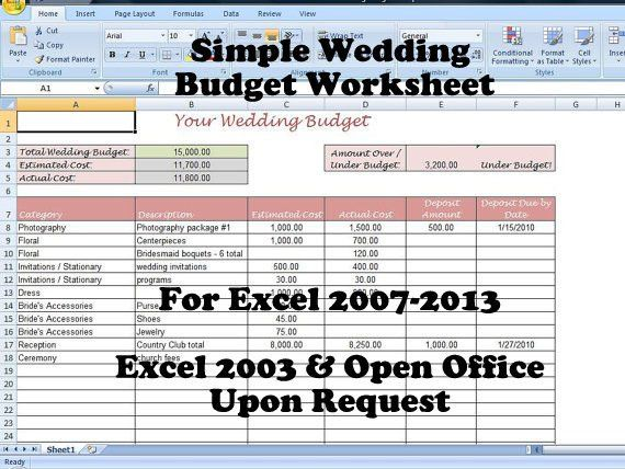 Printable Wedding Budget Template for your Wedding Planning Binder ...