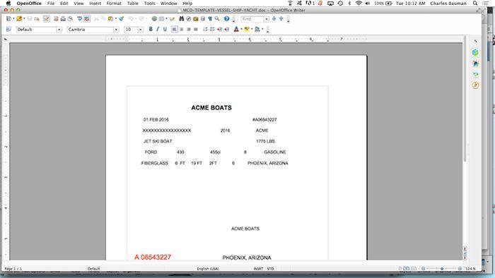 BOAT MCO / MSO Certificate of Origin
