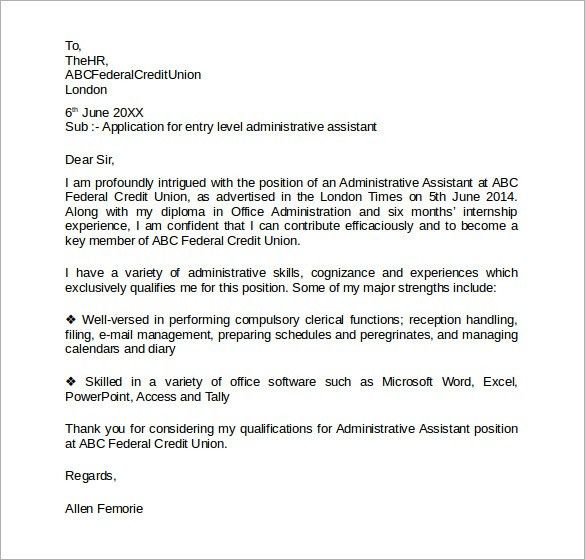 Sample Administrative Assistant Cover Letter Example ...