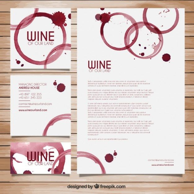 Wine stains stationery Vector | Free Download