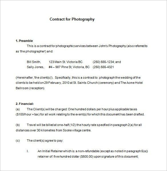 5+ Commercial Photography Contract Templates – Free Word, PDF ...