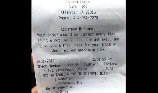 A Black Woman Furious After Receiving Her Receipt From Panera ...
