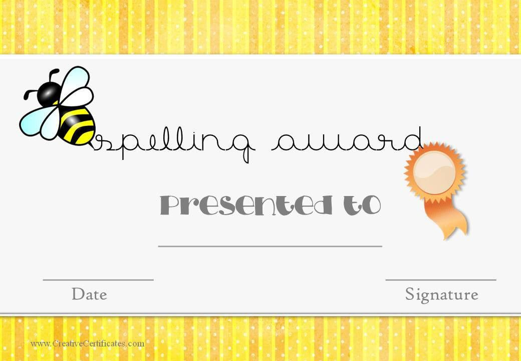 Free Spelling Bee Certificate Templates - Customize Online