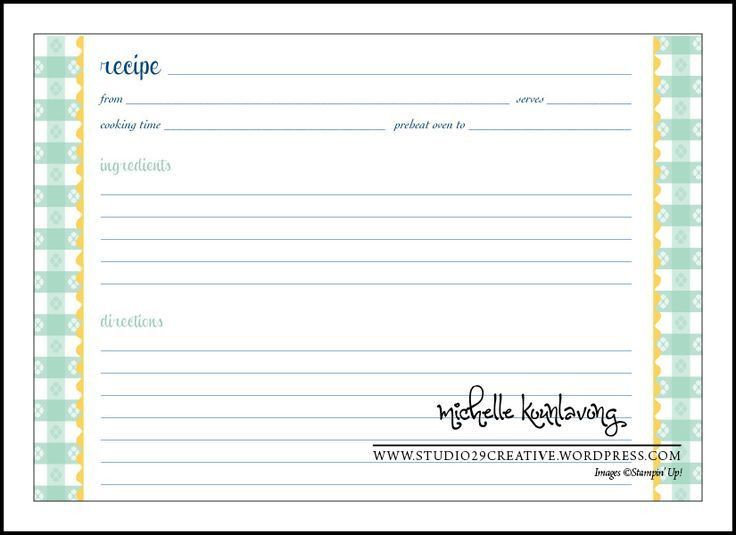 Blank Recipe Template. Custom Card Template Blank Recipe Card ...