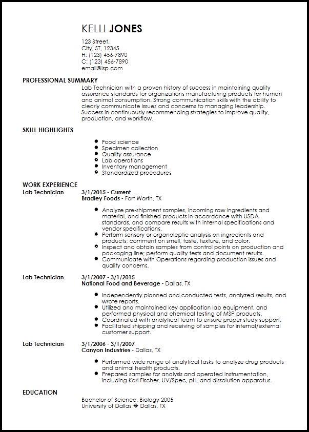 Free Entry-Level Lab Technician Resume Templates | ResumeNow