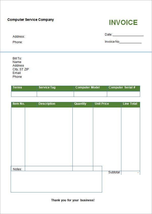 Invoice Template In Word Format | printable invoice template