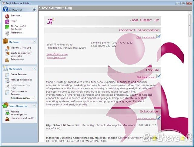 Download Free EasyJob Resume Builder, EasyJob Resume Builder 4.76 ...
