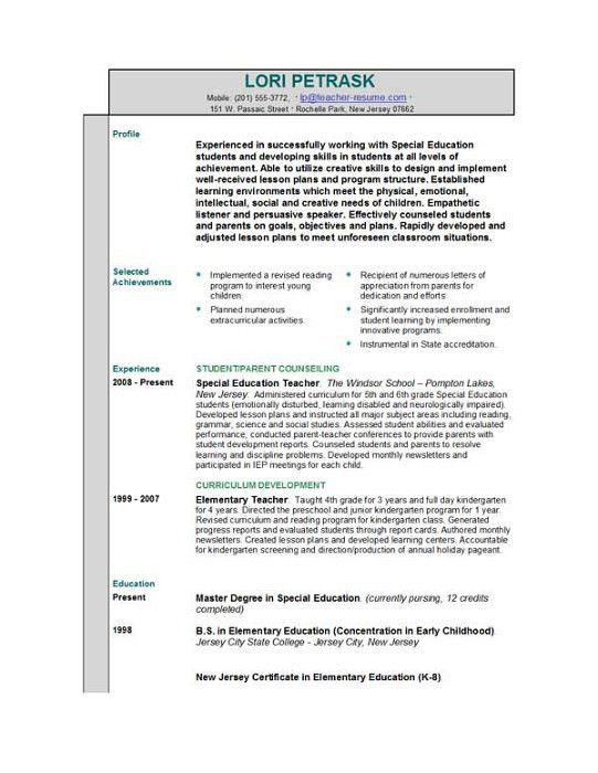resume for preschool teachers with no experience resources. great ...