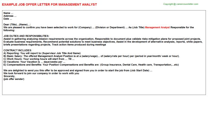 Management Analyst Offer Letter