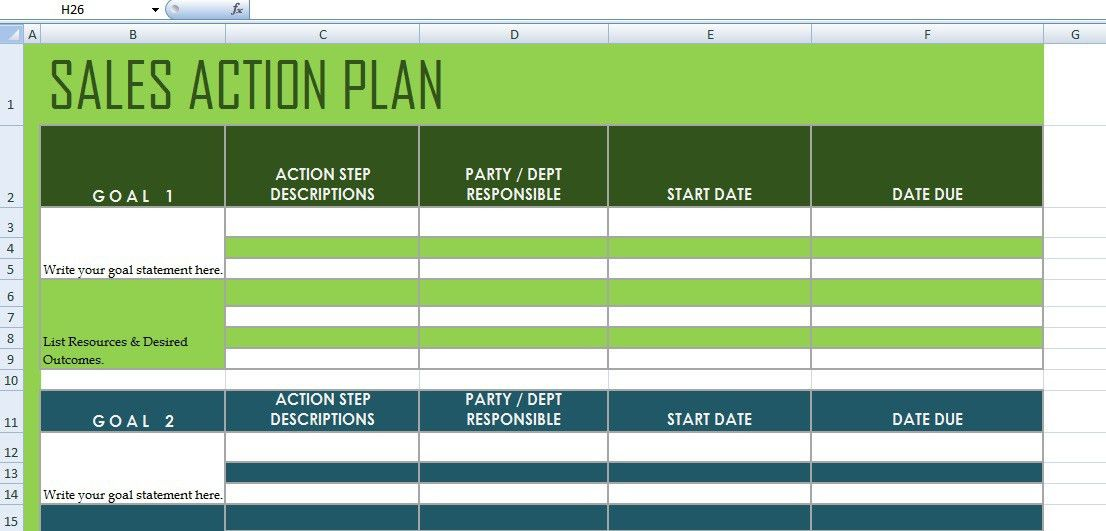 Get Sales Action Plan Template XLS | Excel Project Management ...