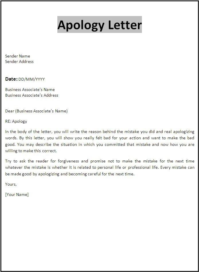 Apology Letter Sample Apology Letter Template Aplg