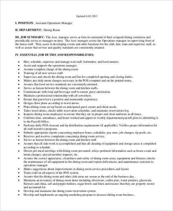 Sample Operations Manager Job Description - 8+ Examples in PDF