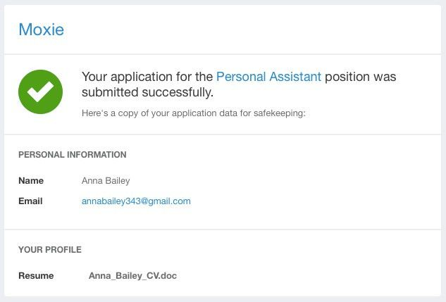 Accepting job applications from candidates by email