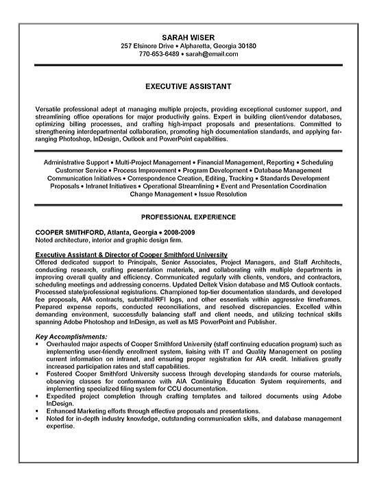 Summary On A Resume Examples. Executive Assistant Resume Example ...