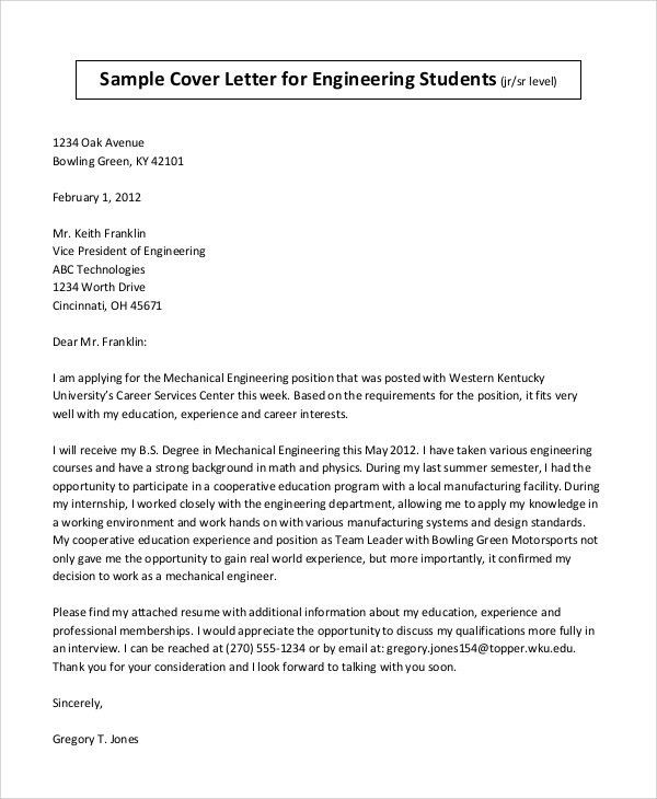 10+ Cover Letter for Student - Free Sample, Example Format ...