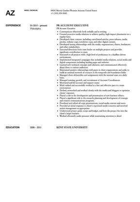 Public Relations Account Executive Resume Sample | Velvet Jobs