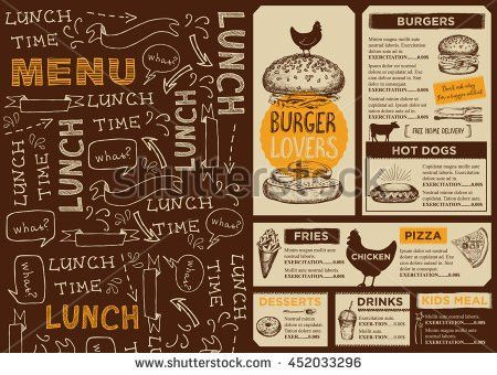 Menu Placemat Food Restaurant Brochure Template Stock Vector ...