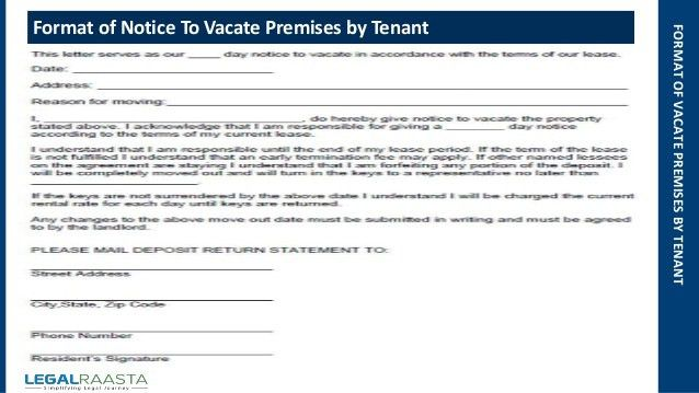 Notice to vacate premises | format | template | Legalraasta