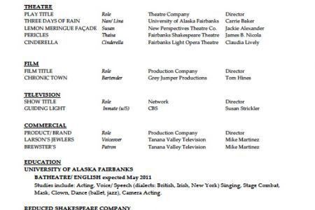 acting resumes actors resume example download image special skills ...