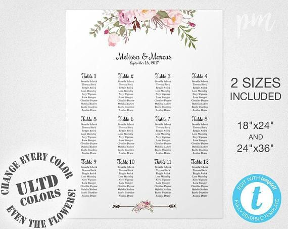 Floral Wedding Seating Chart Template Wedding Seating Plan