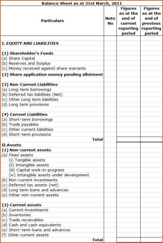 5+ balance sheet format - bookletemplate.org