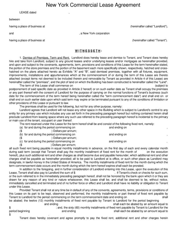 New York Commercial Lease Agreement | LegalForms.org