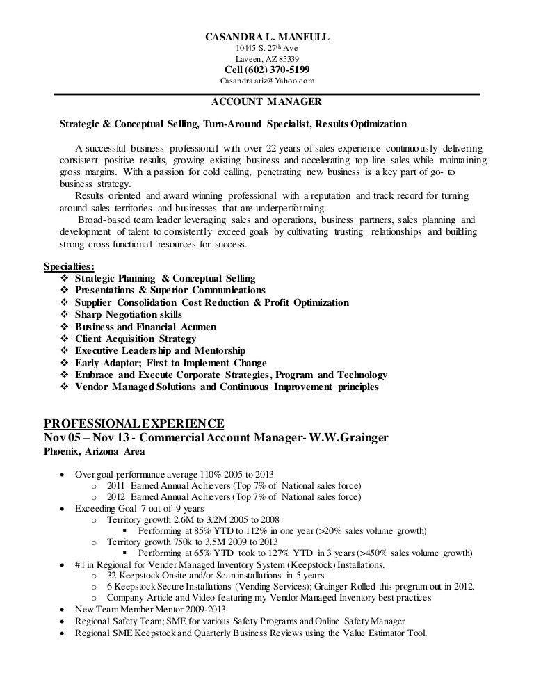 CASANDRA L MANFULL Resume 09 Feb 2015 ACCOUNT MANAGER