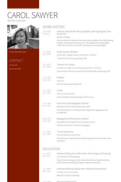 Bibliothekar CV Beispiel - VisualCV Lebenslauf Muster Datenbank