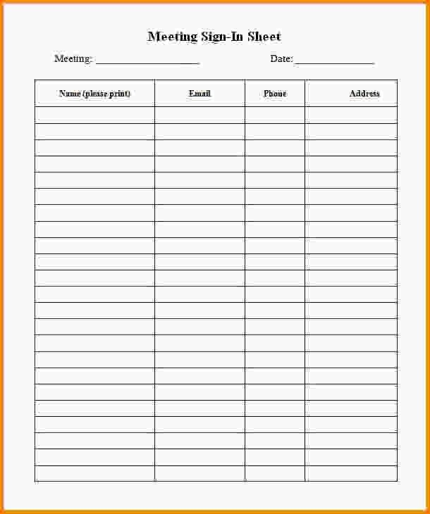 sample sign in sheet for meeting