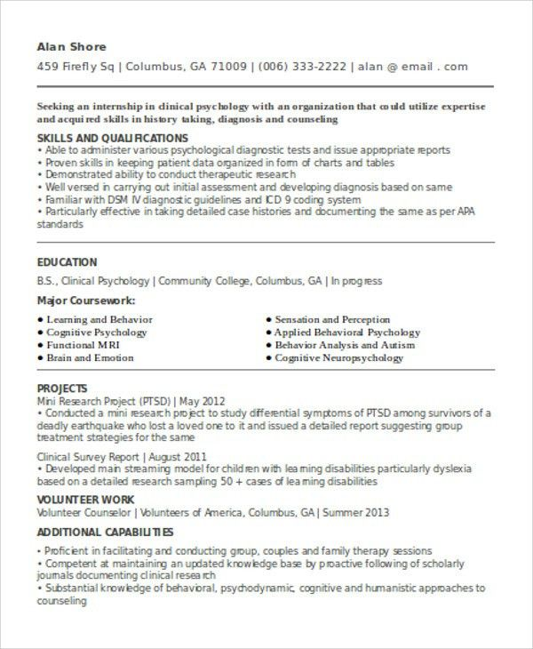 cv clinical psychologist clinical psychologist resume samples
