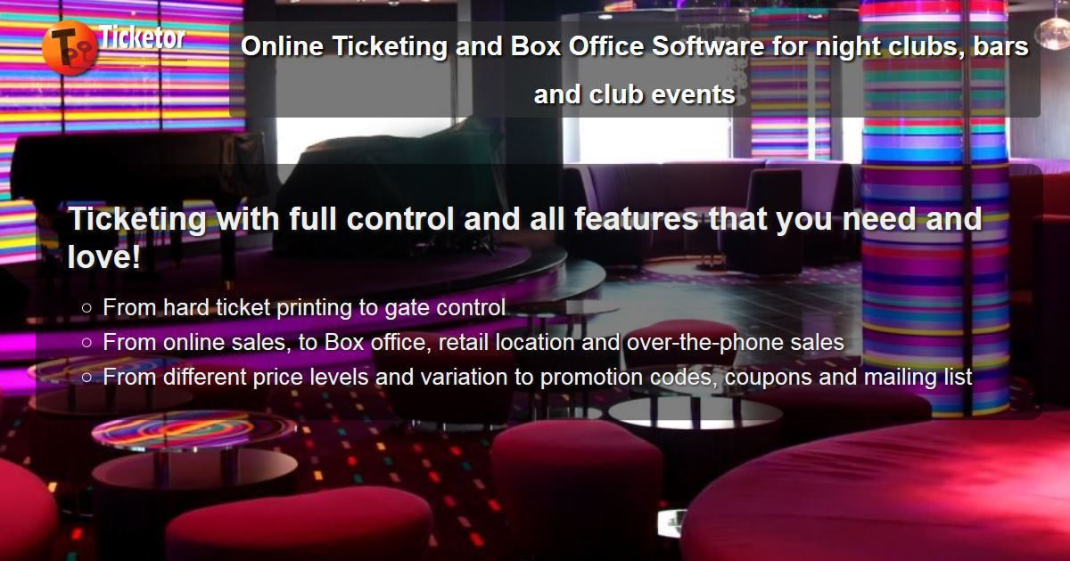 Online Ticketing and Box Office Software for night clubs, bars and ...