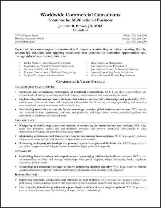Resume Example - Capabilities Summary