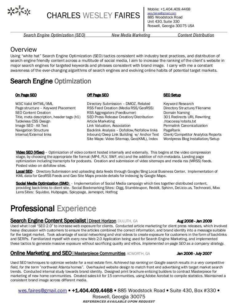 Wes Faires] Search Engine Optimization (Seo) Resume