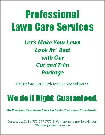 Lawn Care Flyers | LANDSCAPE | Pinterest | Lawn care, Lawn and ...
