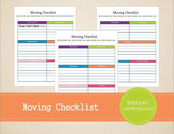 Moving Checklist Template – 15+ Word, Excel, PDF Documents ...