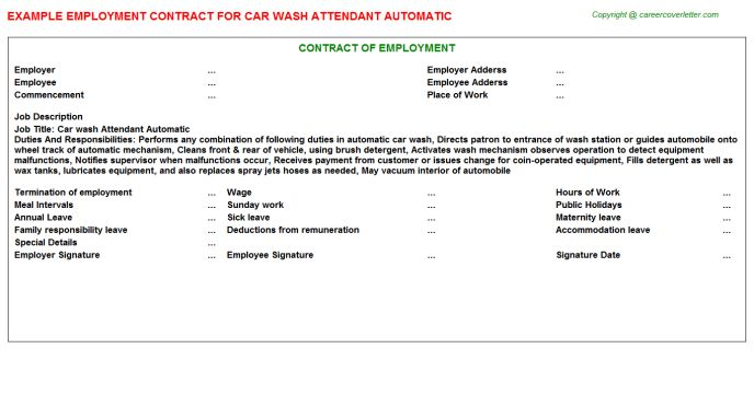 Car Wash Attendant Automatic Employment Contract