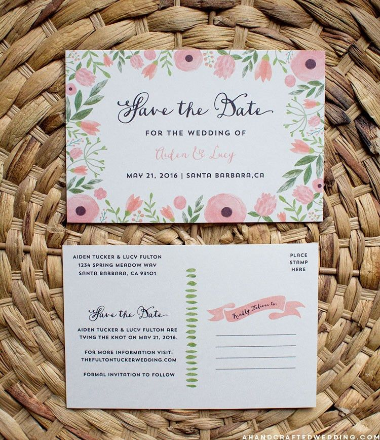 free printable save the date postcard template diy custom ideas ...