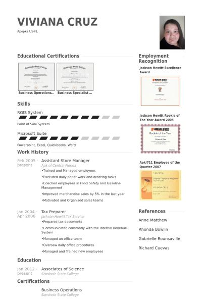 Assistant Store Manager Resume samples - VisualCV resume samples ...