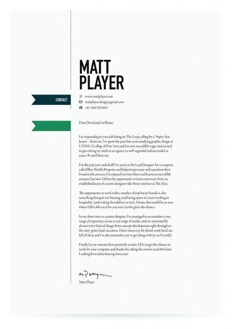 Cover Letter Design. | Branding: Logos // Business Cards // Office ...