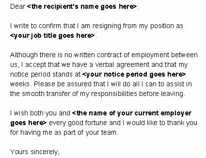 Resume Examples Templates: Free Letter Of Resignation Template ...