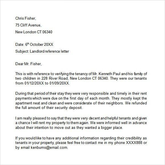 Landlord Reference Letter Template - 8+ Download Free Documents in ...