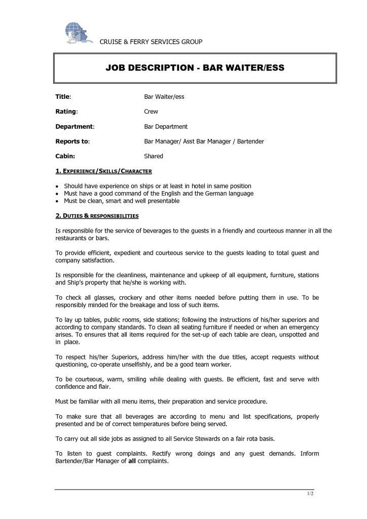 Waitress Job Description Resume | berathen.Com