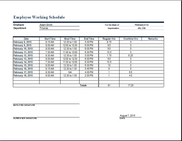 employee work timetable | Word & Excel Templates