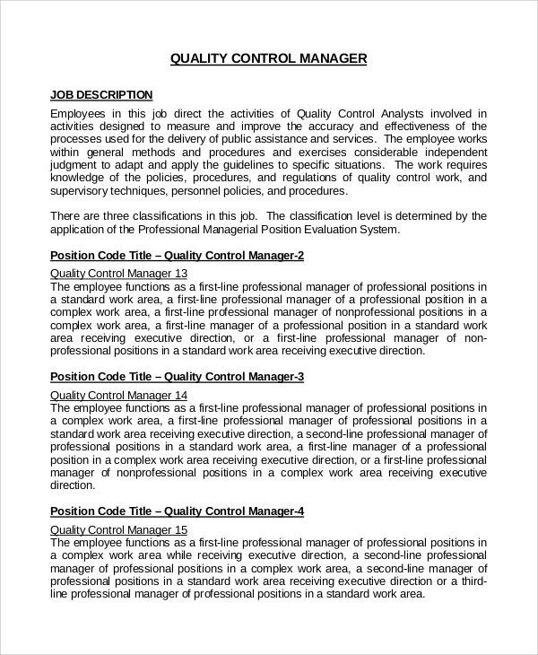 Sample Quality Control Job Description - 9+ Examples in PDF, Word