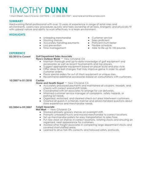 28+ Resume Samples For Retail Jobs | Resume Example Retail Store ...