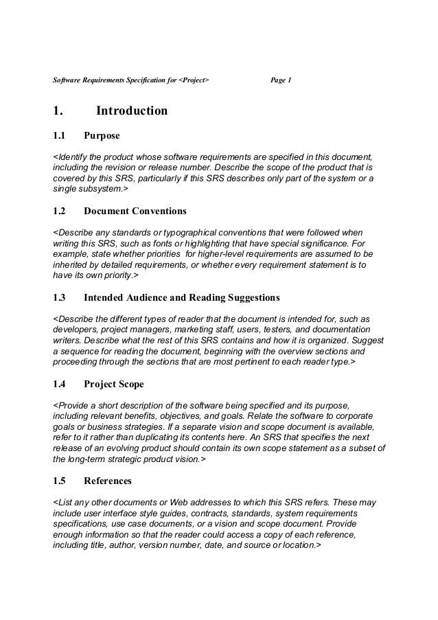 SRS (Software Requirement Specification) template