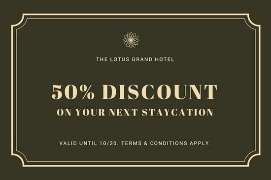 Dark Olive Green Lotus Hotel Gift Certificate - Templates by Canva