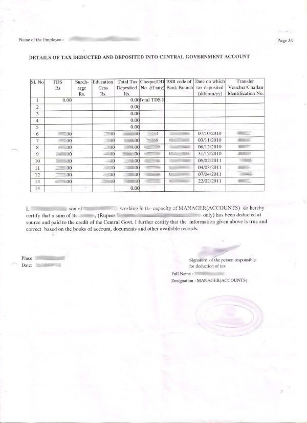 TDS / Form 16 Certificate - The Proof Of Income Tax Payment ...