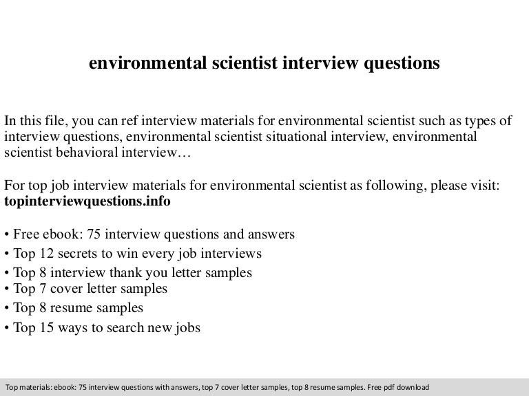 Environmental scientist interview questions
